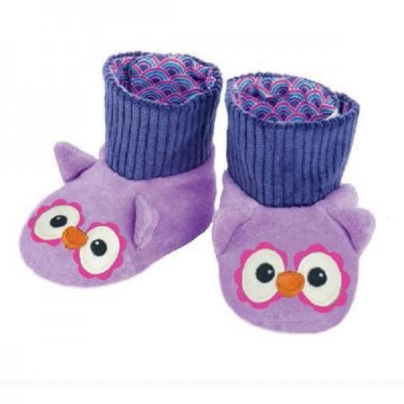 Owl Booties Purple (3-9 Months)