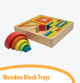 wooden block trays